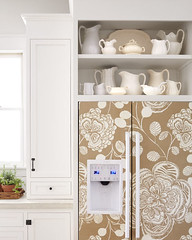Wallpapered Refrigerator (Heath & the B.L.T. boys) Tags: wallpaper white kitchen floral ceramic diy fridge pitcher