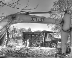 Dave's Trucking (creepingvinesimages - struggling to keep up!) Tags: bw outdoors virginia nikon dumptruck constructionsite deere essentials htt photomatix ruckersville d7000 pse14 davestrucking