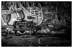 Always a chair (R. Wozniak) Tags: blackandwhite bw graffiti blackwhite rust milwaukee solveycokeplant