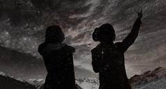 LOOK THERE ! (XAEVO DELUXE) Tags: sky blackandwhite bw moon mountain snow jason mountains love monochrome night dark stars star you doubleexposure nebula crux milkyway instagram jasoncrux xaevo xaevodeluxe