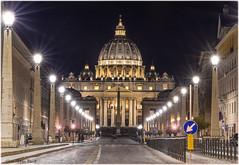 Basilica di San Pietro in Vaticano - Roma (Elanor82) Tags: italien italy rome roma church night canon eos lights italia mark basilica iii vaticano cupola 5d luci rim sanpietro rom notte spietro cupolone conciliazione