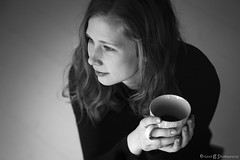 One calm moment (ErlandG) Tags: portrait blackandwhite woman cup coffee face hands coffeecup indoor