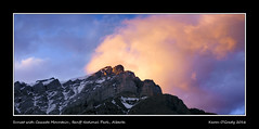 Sunset with Cascade Mountain, Banff National Park, Alberta (kgogrady) Tags: panorama mountain canada clouds landscape rockies spring pano rocky noone peak ab nopeople alberta banff fujifilm rockymountains fujinon banffnationalpark parkscanada canadianrockies 2016 westerncanada cascademountain canadianmountains mountcascade xe1 canadiannationalparks canadianlandscapes mtcascade cans2s albertalandscapes fujifilmxe1 xf55200mmf3548ois picturesofalberta photosofalberta photosofbanffnationalpark picturesofbanffnationalpark canadianrockieslanscape