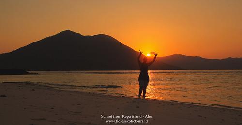 Sunset from Kepa island Alor island Indonesia