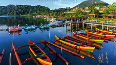 Morning View (Hafiz.Soyuz.Photography) Tags: wood blue red bali mountain lake green tourism water indonesia boat woods village lagoon tourist attraction ulun danu batur colourfull