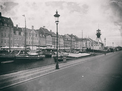 Timeless Copenhagen, Denmark (` Toshio ') Tags: street blackandwhite bw building architecture copenhagen denmark nyhavn harbor boat ship danish tallship lightship iphone toshio