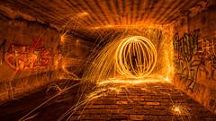 Lightning Orb (MrProd) Tags: vienna wien city light lightpainting hot art night wow dark painting underground fire austria nikon europe outdoor orb tunnel symmetry tokina lightning dslr available steelwool 1116 d7200