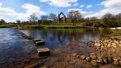 Spring Sun at Bolton Abbey (77gazza) Tags: england other unitedkingdom yorkshire rivers steppingstones boltonabbey