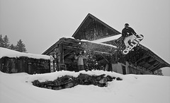 Those Snowboarders.. (dupppe) Tags: house snow ski alps switzerland skiing cloudy powder snowboard skis snowboarder skier engelberg titlis