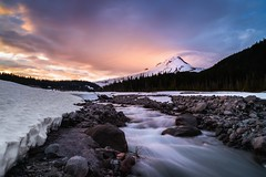 Evening Glow (Trent's Pics) Tags: winter sunset snow cold oregon river evening stream glow whiteriver mounthood alpenglow