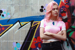 Liquid Crystals (amybyn) Tags: pink portrait people sun fashion photography graffiti design bath rocks crystals colours outdoor grunge location layers material iridescent marble bombs geode quartz marbling
