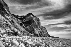 Compton Bay long exposure - DSCF8111 (s0ulsurfing) Tags: longexposure bw cliff seascape beach nature rock landscape mono bay coast rocks fuji natural compton shoreline monotone cliffs coastal filter shore april fujifilm coastline isle wight 2016 s0ulsurfing xt1 nd10