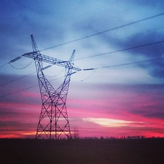 Electric sunset.  t.t.a.b... (Tomski TTABOGRAPHY) Tags: sunset field electric energy poland thoughts agriculture thunder ano tomski ttab uploaded:by=flickstagram igereurope instagram:photo=11509362111232109811484642177 igerpoland klobuckcounty ttabography anoprojekt panatommedia