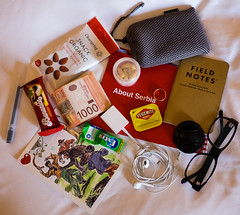 What's in my carry on bag no. 5 (dagboshoots) Tags: field bag hotel cowboy fuji notes serbia battery bored books location note almonds muji headphones whatsinmybag hotelroom vegemite obsessive fieldnotes ipad xt1