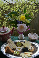 Spring Tea and Leftover Tea Sandwiches (I'm a sea) Tags: flowers food flower cup colors yellow spring yummy pretty dish bright time tea drink emma eat teapot teacup sandwiches platter