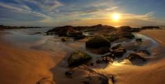 Birubi Sunset. (williams.darrell53) Tags: light sunset sea sky cloud sun seascape water rock canon landscape sand williams australia darrell samyang