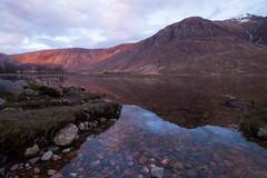 Sunset at Glen Etive (rebecca_simmons87) Tags: sunset mountains reflection nature water beautiful landscape scotland colourful loch glenetive
