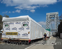 Home Guard Oversize Load Trailer at the George Washington Bridge, Fort Lee, New Jersey (jag9889) Tags: auto bridge usa tower car bicycle puente newjersey automobile cyclist crossing unitedstates outdoor unitedstatesofamerica nj bridges ponte transportation infrastructure pont vehicle trailer brcke gw suspensionbridge gwb fortlee gardenstate georgewashingtonbridge 2016 bergencounty k007 zip07024 07024 jag9889 20160427