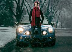 Mini Tuff (jeffrey equality brooks) Tags: street snow chicago cute girl boots suburban mini headlights redhat cooper moto minicooper redlips checkerboard checkered bluecar drmartens drmartins redscarf rallylights blackcoat jcw chicagophotographer checkedmirrors
