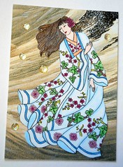 ATC1311 - Lady of the waves (tengds) Tags: flowers blue brown black atc artisttradingcard waves bubbles kimono handcolored papercraft artistcard handmadecard textileprint kimonolady tengds japanesetextileprint