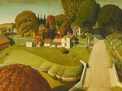 Grant Wood — The Birthplace of Herbert Hoover, 1931. Painting: Oil on masonite, 75.2 x 101 cm. Minneapolis Institute of Art, Minnesota. Herbert Hoover was the first United States president born west of the Mississippi River. The context surrounding Grant (ArtAppreciated) Tags: wood red art history nature modern century rural america painting landscape outdoors countryside 1930s grant fineart great arts modernism minneapolis donald blogs institute heartland american artists depression hoover states birthplace middle herbert trump 20th artblogs regionalism tumblr artoftheday artofdarkness artappreciated artofdarknessco artofdarknessblog date1931
