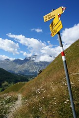 from Sgrischus down to Sils (Riex) Tags: mountain alps sign montagne alpes schweiz switzerland suisse post text signage svizzera panneau pente slope a100 pent engadine amount trailsign graubnden grisons graubunden valfex sal1680z minoltaamount dvers carlzeisssonyf35451680mm sgrischus variosonnartdt35451680