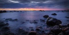 Dawn Panorama (ScottSimPhotography) Tags: uk longexposure morning pink red sea sky panorama sun seascape nature clouds sunrise landscape dawn coast scotland early rocks purple aberdeenshire britain sony scottish wideangle panoramic coastal northsea british bluehour cowie stonehaven rokinon a6000