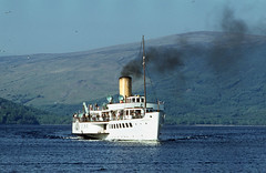 'Maid of the Loch' nears Luss . May'80. (David Christie 14) Tags: lochlomond luss maidoftheloch