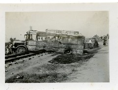 Palestine Railways - an accident with a bus, Sept 17, 1939 (HISTORICAL RAILWAY IMAGES) Tags: pr palestine railways train 1939 bus accident egged volvo אגד אוטובוס רכבת