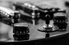 Guitar (Spannarama) Tags: blackandwhite macro closeup reflections switch shiny guitar controls strings knobs dials epiphone electricguitar frets