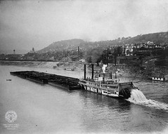 """Brown Photograph 88: Riverboat """"Ironsides"""" (Ohio County Public Library) Tags: waterworks wheeling ohioriver ironsides steamboats washingtonschool coalbarge wheelingwv brownphotographs washingtongradeschool northwheeling wcbrown"""