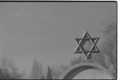 Sephardic Jewish cemetery, Belgrade (veljko.vujcic) Tags: film monument cemetery analog 35mm dof olympus iso jewish 100 pan asa ilford om1 jewishstar davidstar