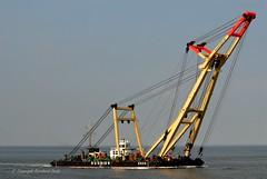 Schwimmkran Enak (Bernhard Fuchs) Tags: water boot boat nikon wasser ship ships vessel elbe schiffe cuxhaven schwimmkran bugsier