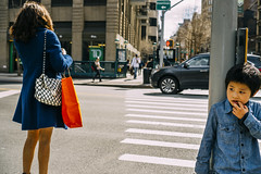 Untitled (reinfected) Tags: street new york city nyc woman ny car bag children wonder photography photo back waiting child candid cities hide purse wait hiding wondering concerned concern