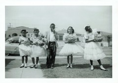 A breezy Easter day in the 1950's (sctatepdx) Tags: easter snapshot 1950s afroamerican vernacular easterbasket bobbysocks oldsnapshot vintagesnapshot vintageeasterclothes vintageeasterdress