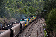 "2016-04-13 SSR CEY006-CEY007-CEY002 Picton TM01 2 (Dean ""O305"" Jones) Tags: railroad train south au main rail overcast australia line southern nsw newsouthwales ssr coal picton ugl shorthaul phth tm01 c44aci cey002 cey007 cey006"