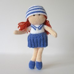 Sally Sailor (Knitting patterns by Amanda Berry) Tags: blue girls white amanda girl hat berry knitting doll dolls handmade navy sailors knit fluff download wren sailor nautical knits knitted dolly fuzz knitter knitters nautic ravelry