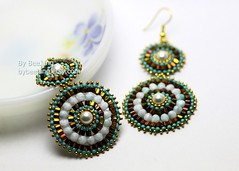 Anri Earrings (BeeJang - Piratchada) Tags: white green bronze gold golden beads czech handmade turquoise earring jewelry bead pearl earrings miyuki beading beadwork beadweaving