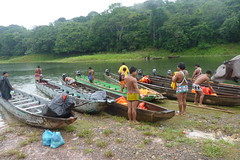 Embera Indians with their Dug-Out Canoes, Jungles of Panama (Joseph Hollick) Tags: boat canoe jungle panama embera dugoutcanoe emberaindians