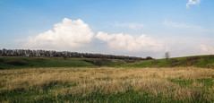 Evening in Countryside (Alex Demich) Tags: blue trees sky panorama white tree green nature field grass clouds landscape evening countryside spring cloudy outdoor horizon hill ukraine ravine vernal steppe