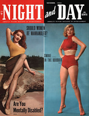 Night and Day, November 1953 - Julie Newmar and Anita Ekberg (Tom Simpson) Tags: woman sexy vintage legs bikini 1950s actress fishnets celebs swimsuit pinup swimwear 1953 julienewmar anitaekberg