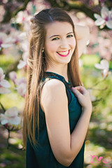 (PinkPetra) Tags: park pink portrait woman flower cute green nature girl smile lady female canon garden 50mm hungary blossom young cutie smiley 7d bloom magnolia lovely szeged blooming magnoliatree 3p 2016 portraitphotography portr portreature pinkpetraphotography horvthpetra kriancsi