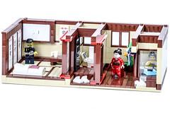 Ryokan -  (Gzu's Bricks) Tags: brick japan architecture bathroom japanese hotel inn lego tea ikebana mini maiko geisha tatami ryokan yukata kimono minifig futon figurine japon furo ocha th afol ofuro kakemono gzu gzubricks