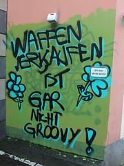 nicht groovy (mkorsakov) Tags: city green wall hippies graffiti wand grn tagging mnster innenstadt parole