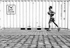 Along the box (pascalcolin1) Tags: blackandwhite noiretblanc box pavement runner streetview boite paris13 pavs photoderue coureur urbanarte ruepav photopascalcolin