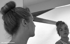 The Beauty Salon (Jane Hards) Tags: people blackandwhite woman reflection girl monochrome closeup female pose profile models headshot blonde makeover mirrorimage beautysalon modelshoot hairup