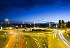 A38 Carkeet Roundabout, Saltash at night. (Cornish Aviation - 500 Followers!) Tags: light red white cars car night canon lights long exposure footbridge roundabout trails plymouth headlights trail brake dual a38 saltash carriageway carkeet 1200d