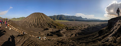 (Luurankorotsi) Tags: park sky people panorama sun mountain mountains tourism sunrise indonesia landscape volcano java outdoor hill scene tourist east mount national crater mountainside hillside volcanic bromo semeru cemara tengger batok lawang