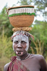 Gatherer, Mursi Tribe, Ethiopia (Rod Waddington) Tags: africa portrait people woman face female beads basket african painted traditional culture valle tribal afrika omovalley ethiopia tribe ethnic mursi ethnicity afrique ethiopian omo etiopia gatherer ethiopie etiopian lipplate