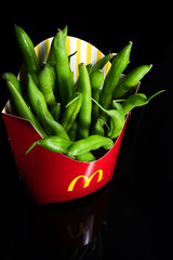 Healthy French Fries (si_glogiewicz) Tags: red black green french beans healthy junk background vegetable mcdonalds fries vegetarian concept isolated unhealthy